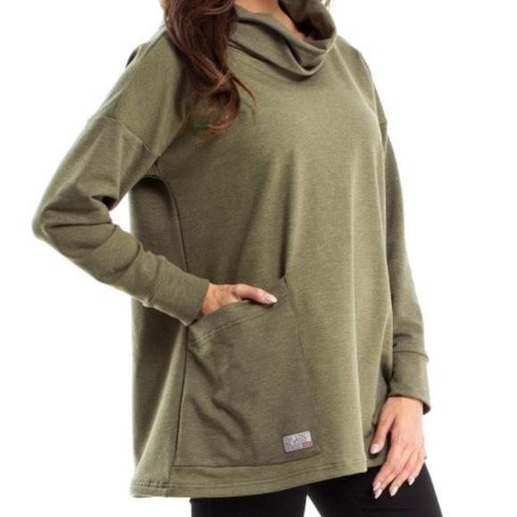 Green Khaki Oversize Cowl Neck Pullover - L XL 9cd4c5e72